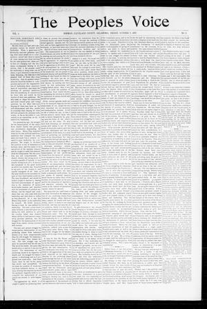 Primary view of object titled 'The Peoples Voice (Norman, Okla.), Vol. 6, No. 11, Ed. 1 Friday, October 8, 1897'.
