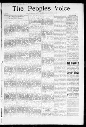 Primary view of object titled 'The Peoples Voice (Norman, Okla.), Vol. 6, No. 13, Ed. 1 Friday, October 22, 1897'.