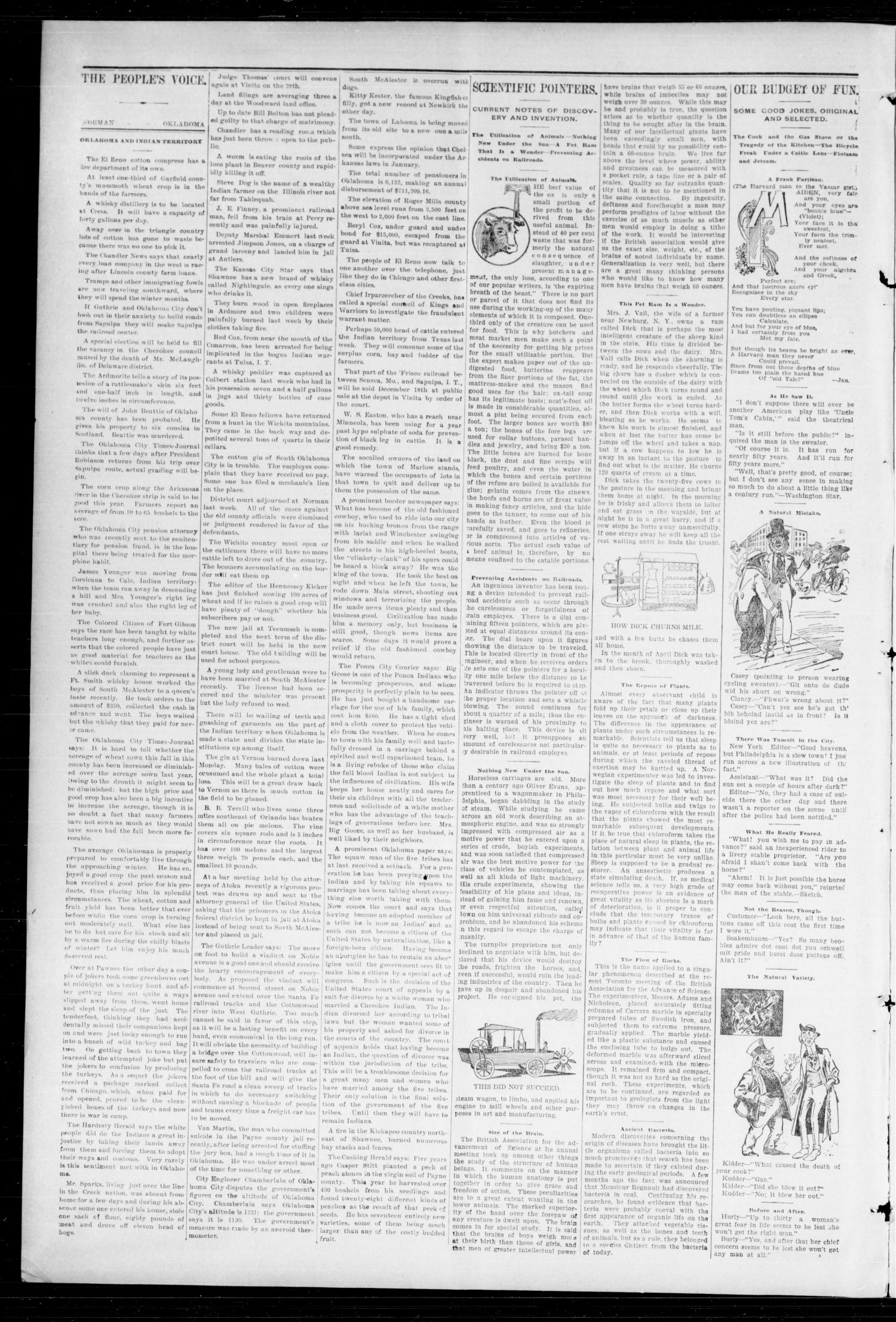 The Peoples Voice (Norman, Okla.), Vol. 6, No. 19, Ed. 1 Friday, December 3, 1897                                                                                                      [Sequence #]: 2 of 10