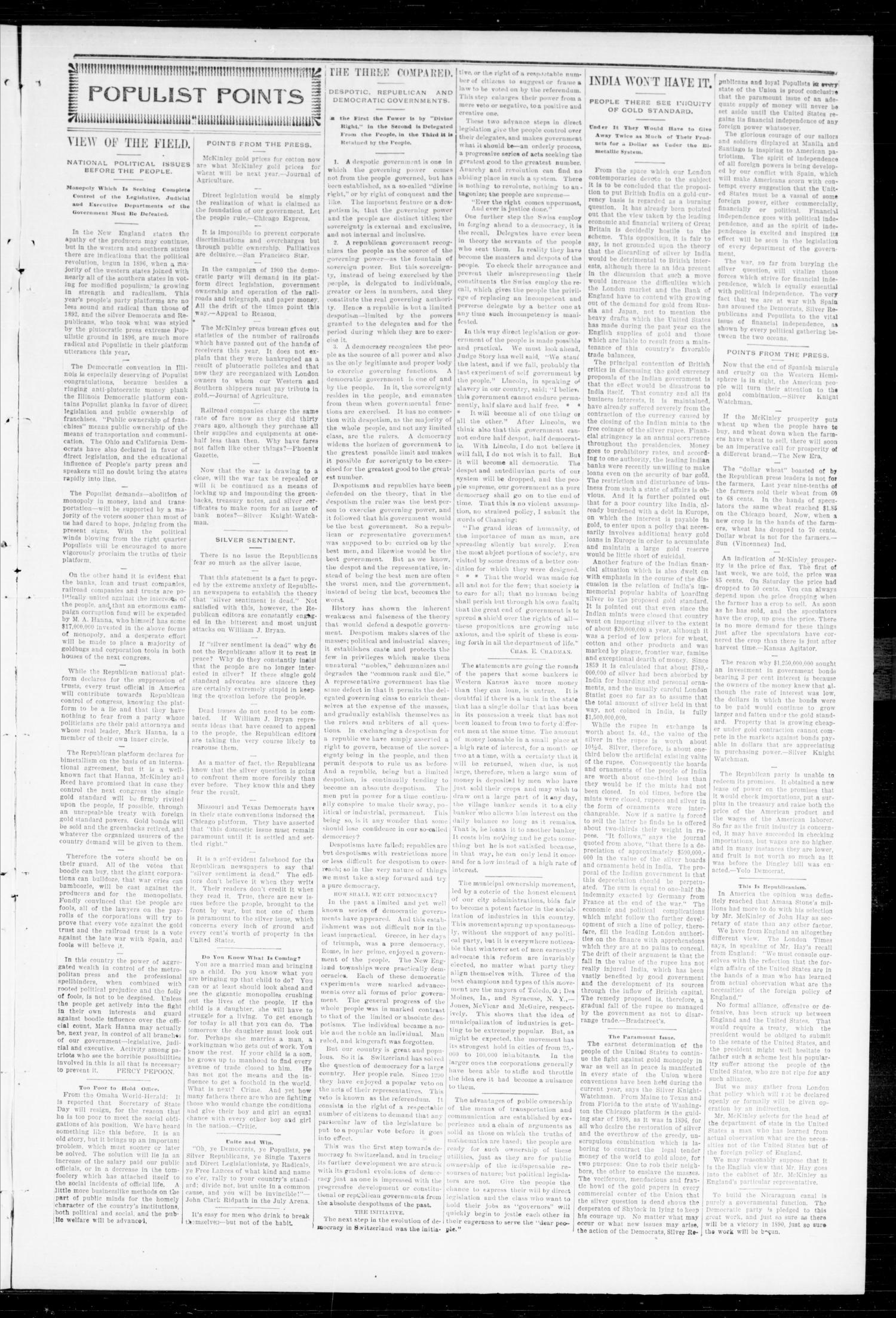 The Peoples Voice (Norman, Okla.), Vol. 7, No. 9, Ed. 1 Friday, September 23, 1898                                                                                                      [Sequence #]: 3 of 8
