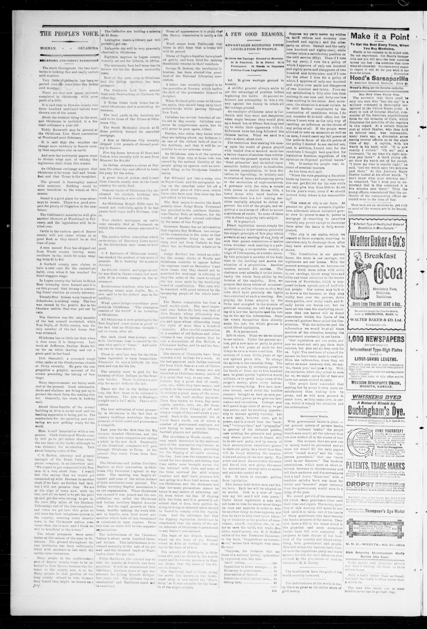 The Peoples Voice (Norman, Okla.), Vol. 7, No. 20, Ed. 1 Friday, December 9, 1898                                                                                                      [Sequence #]: 2 of 8
