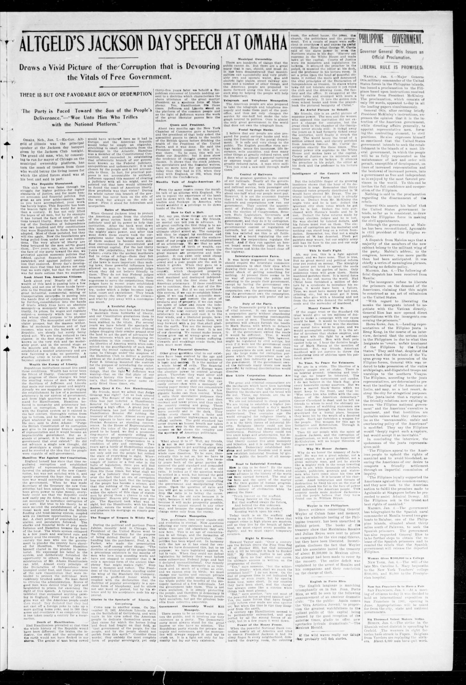 The Peoples Voice (Norman, Okla.), Vol. 7, No. 25, Ed. 1 Friday, January 13, 1899                                                                                                      [Sequence #]: 3 of 8