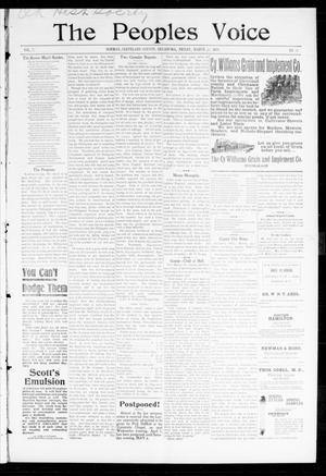 Primary view of object titled 'The Peoples Voice (Norman, Okla.), Vol. 7, No. 36, Ed. 1 Friday, March 31, 1899'.
