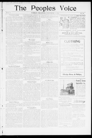 Primary view of object titled 'The Peoples Voice (Norman, Okla.), Vol. 8, No. 20, Ed. 1 Friday, December 8, 1899'.