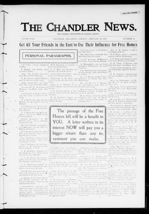 Primary view of object titled 'The Chandler News. (Chandler, Okla.), Vol. 9, No. 23, Ed. 1 Friday, February 23, 1900'.
