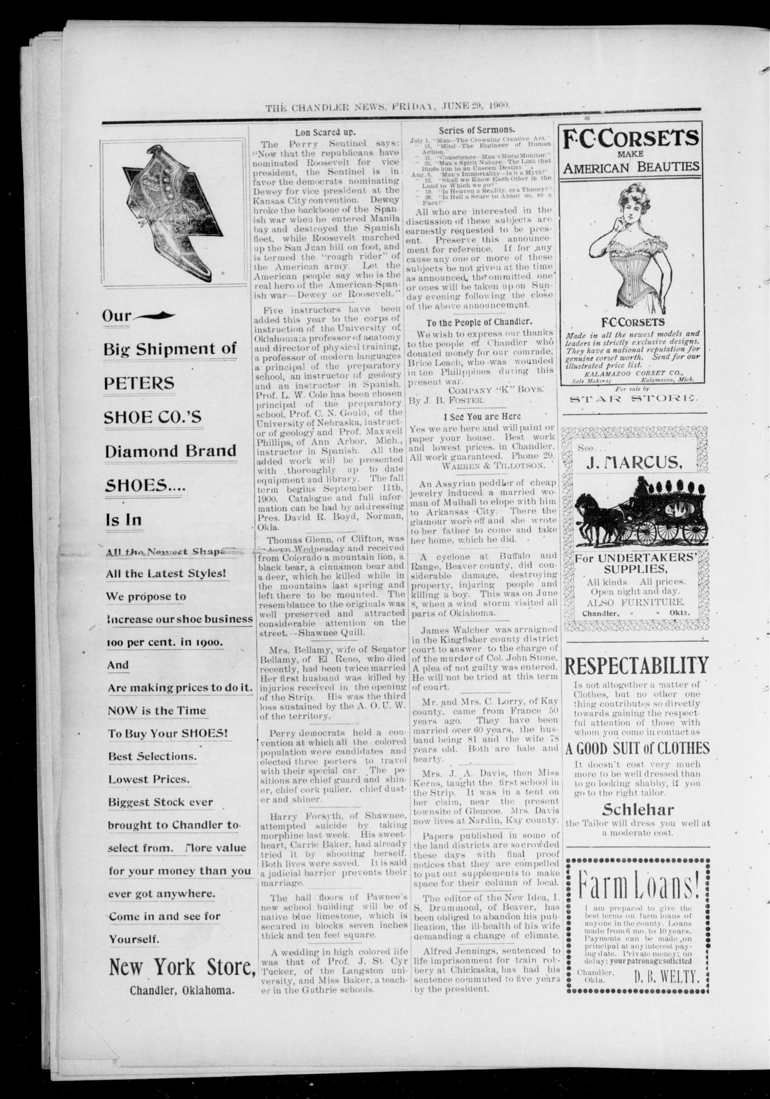 The Chandler News. (Chandler, Okla.), Vol. 9, No. 41, Ed. 1 Friday, June 29, 1900                                                                                                      [Sequence #]: 4 of 10