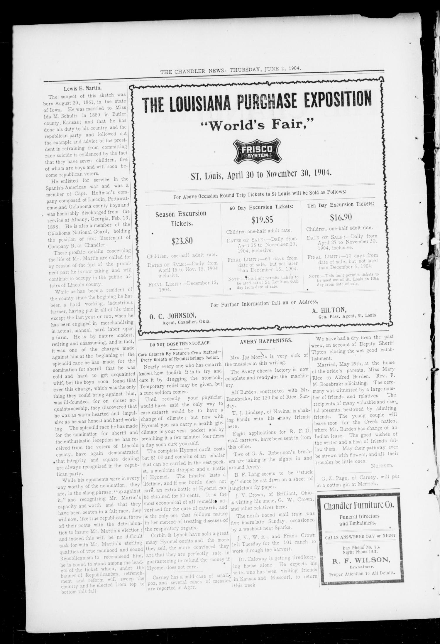 The Chandler News (Chandler, Okla.), Vol. 13, No. 37, Ed. 1 Thursday, June 2, 1904                                                                                                      [Sequence #]: 2 of 10