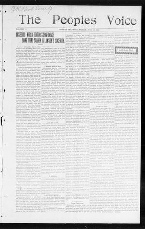 Primary view of object titled 'The Peoples Voice (Norman, Okla.), Vol. 14, No. 3, Ed. 1 Friday, July 28, 1905'.
