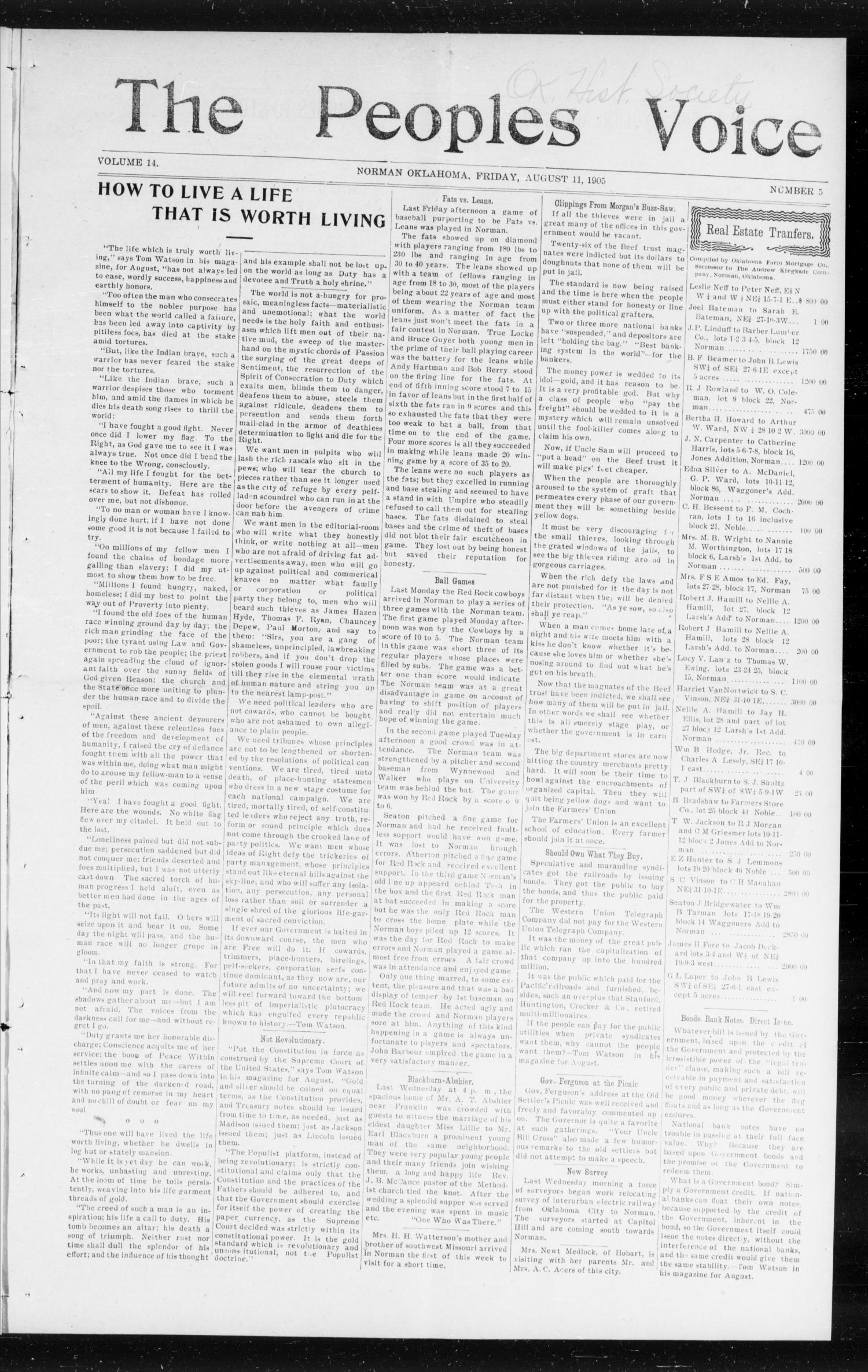 The Peoples Voice (Norman, Okla.), Vol. 14, No. 5, Ed. 1 Friday, August 11, 1905                                                                                                      [Sequence #]: 1 of 8