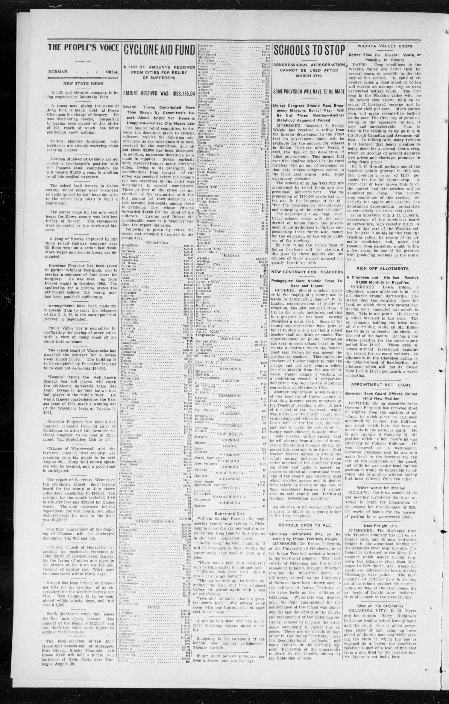 The Peoples Voice (Norman, Okla.), Vol. 14, No. 5, Ed. 1 Friday, August 11, 1905                                                                                                      [Sequence #]: 2 of 8