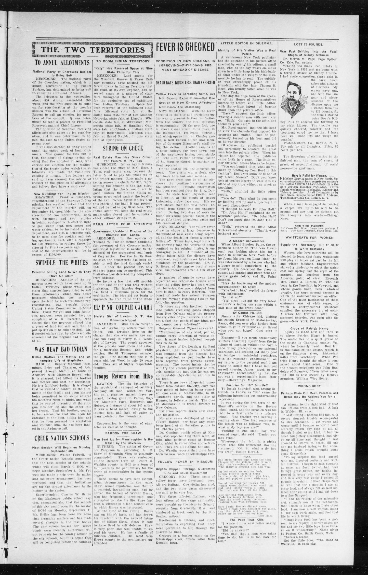 The Peoples Voice (Norman, Okla.), Vol. 14, No. 7, Ed. 1 Friday, August 25, 1905                                                                                                      [Sequence #]: 3 of 8