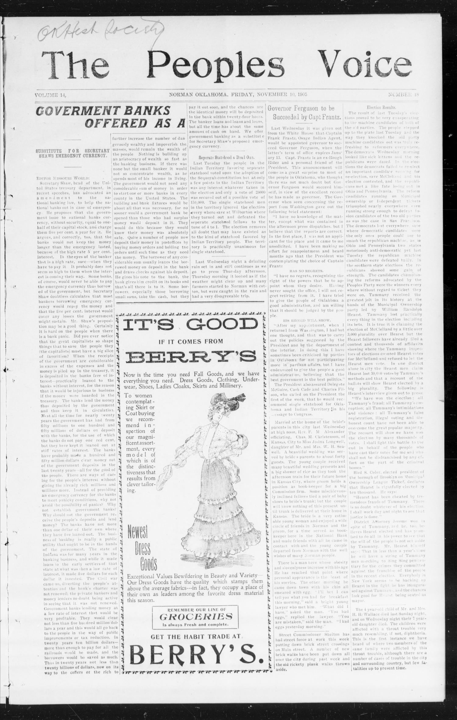 The Peoples Voice (Norman, Okla.), Vol. 14, No. 18, Ed. 1 Friday, November 10, 1905                                                                                                      [Sequence #]: 1 of 8