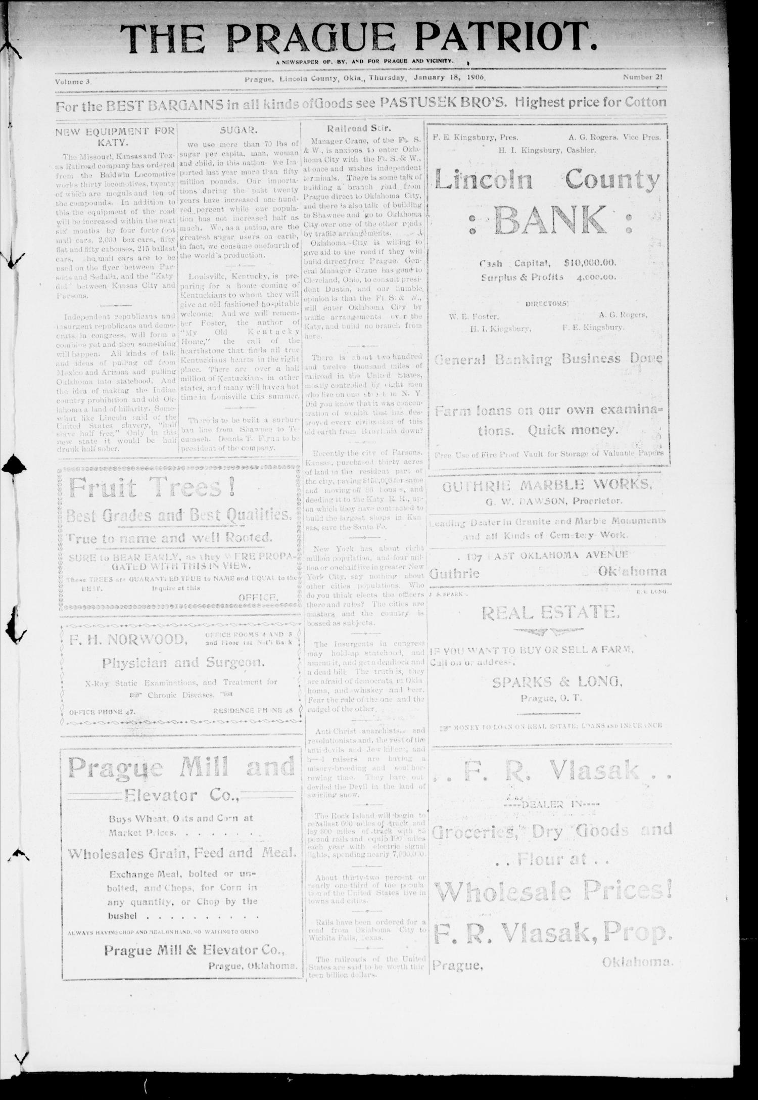 The Prague Patriot. (Prague, Okla.), Vol. 3, No. 21, Ed. 1 Thursday, January 18, 1906                                                                                                      [Sequence #]: 1 of 8