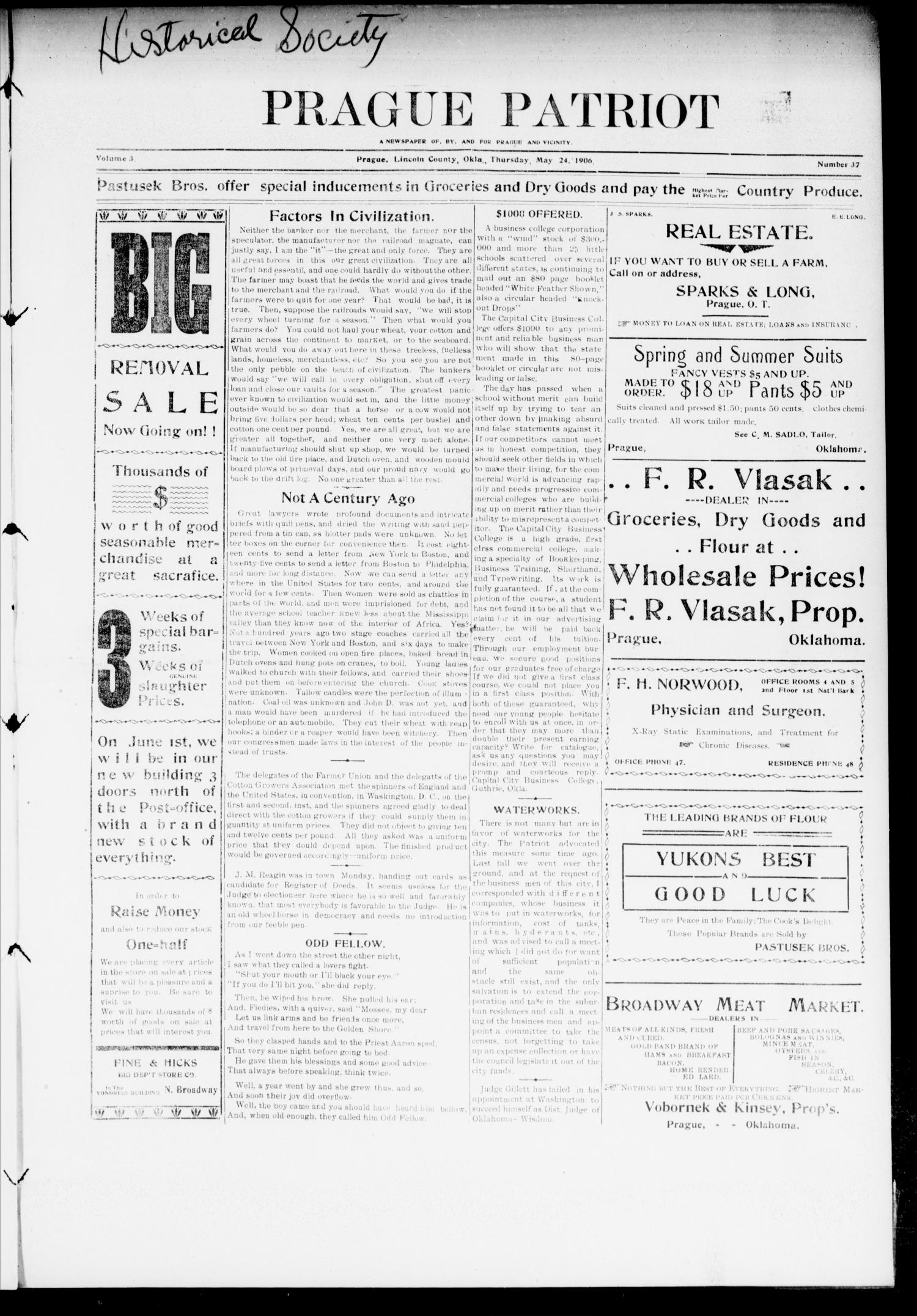 Prague Patriot (Prague, Okla.), Vol. 3, No. 37, Ed. 1 Thursday, May 24, 1906                                                                                                      [Sequence #]: 1 of 6