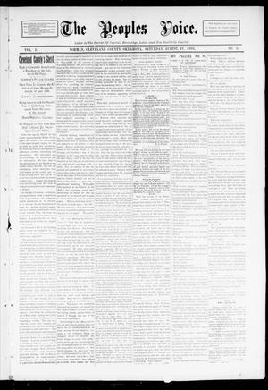 Primary view of object titled 'The Peoples Voice. (Norman, Okla.), Vol. 2, No. 3, Ed. 1 Saturday, August 19, 1893'.