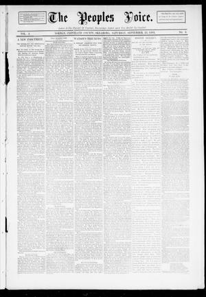 Primary view of object titled 'The Peoples Voice. (Norman, Okla.), Vol. 2, No. 8, Ed. 1 Saturday, September 23, 1893'.