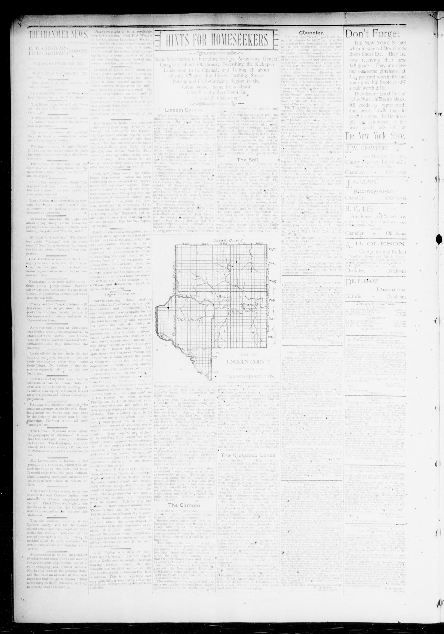 The Chandler News. (Chandler, Okla.), Vol. 3, No. 3, Ed. 1 Friday, October 13, 1893                                                                                                      [Sequence #]: 4 of 8