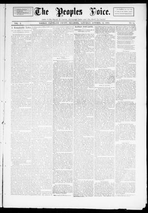 Primary view of object titled 'The Peoples Voice. (Norman, Okla.), Vol. 2, No. 11, Ed. 1 Saturday, October 14, 1893'.