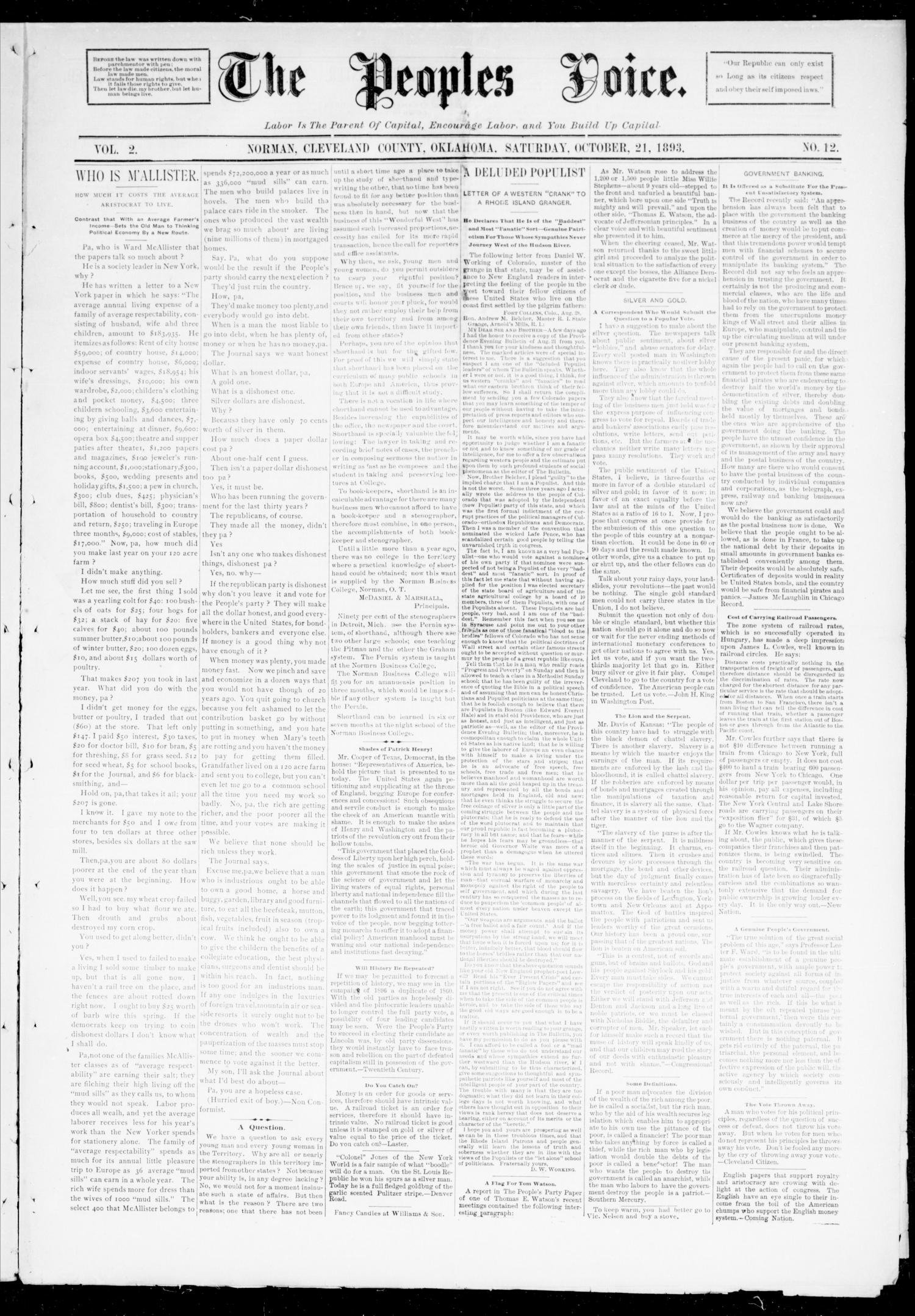 The Peoples Voice. (Norman, Okla.), Vol. 2, No. 12, Ed. 1 Saturday, October 21, 1893                                                                                                      [Sequence #]: 1 of 8