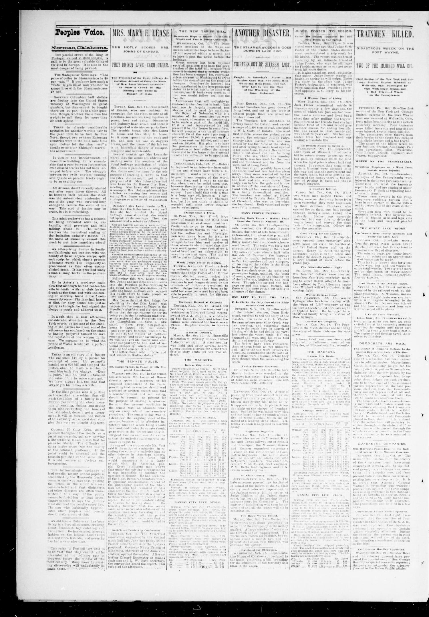 The Peoples Voice. (Norman, Okla.), Vol. 2, No. 12, Ed. 1 Saturday, October 21, 1893                                                                                                      [Sequence #]: 2 of 8