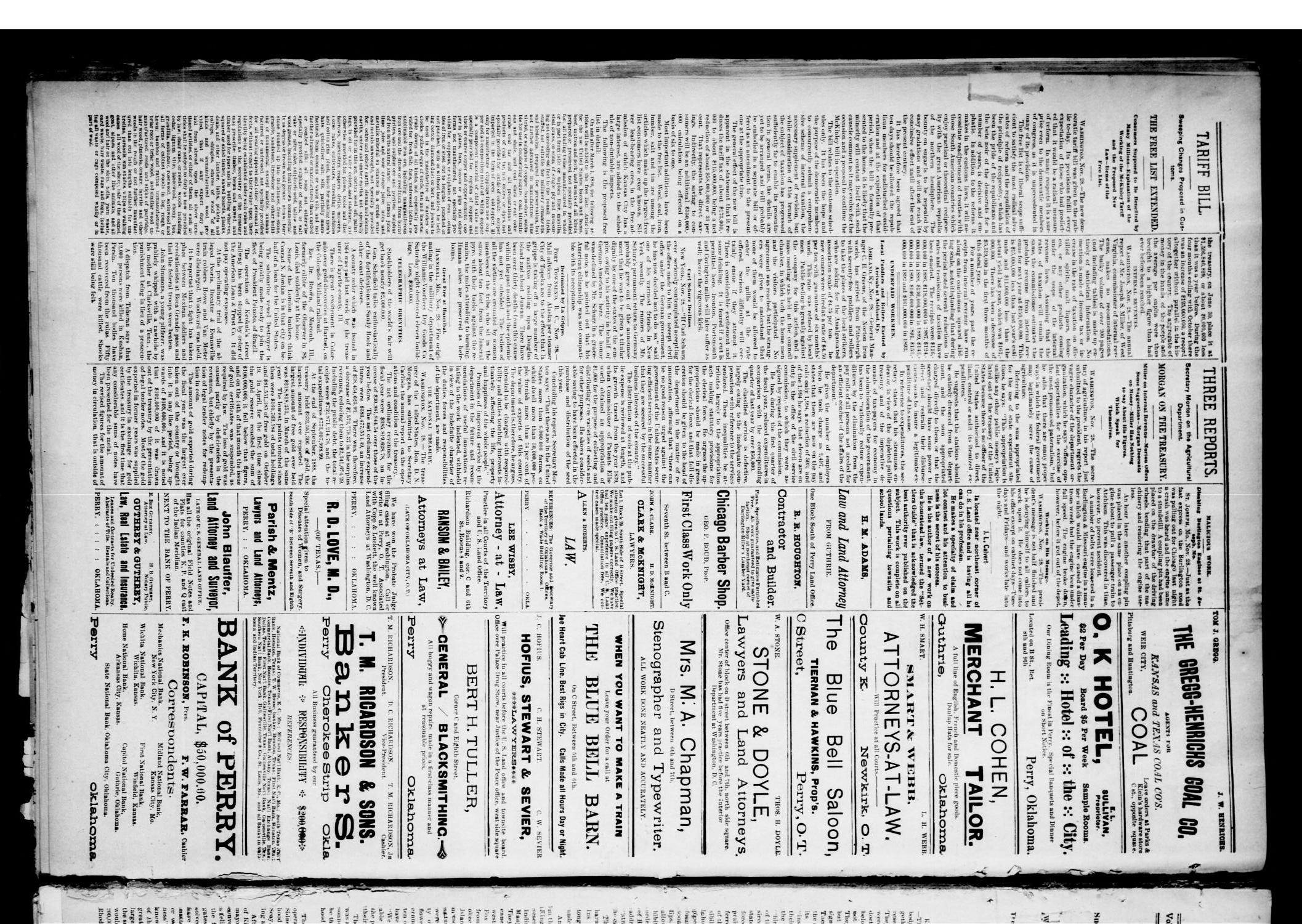 The Perry Daily Times. (Perry, Okla.), Vol. 1, No. 62, Ed. 1 Wednesday, November 29, 1893                                                                                                      [Sequence #]: 4 of 4