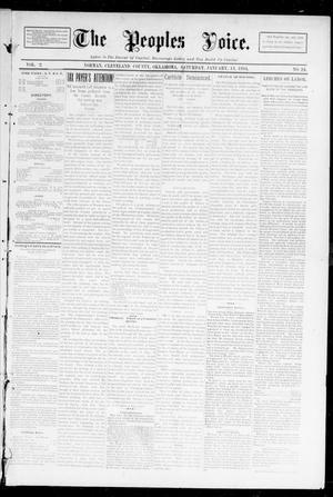 Primary view of object titled 'The Peoples Voice. (Norman, Okla.), Vol. 2, No. 24, Ed. 1 Saturday, January 13, 1894'.