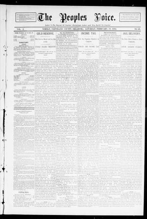 Primary view of object titled 'The Peoples Voice. (Norman, Okla.), Vol. 2, No. 28, Ed. 1 Saturday, February 10, 1894'.
