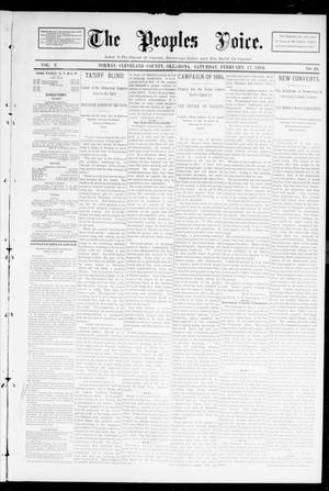 Primary view of object titled 'The Peoples Voice. (Norman, Okla.), Vol. 2, No. 29, Ed. 1 Saturday, February 17, 1894'.