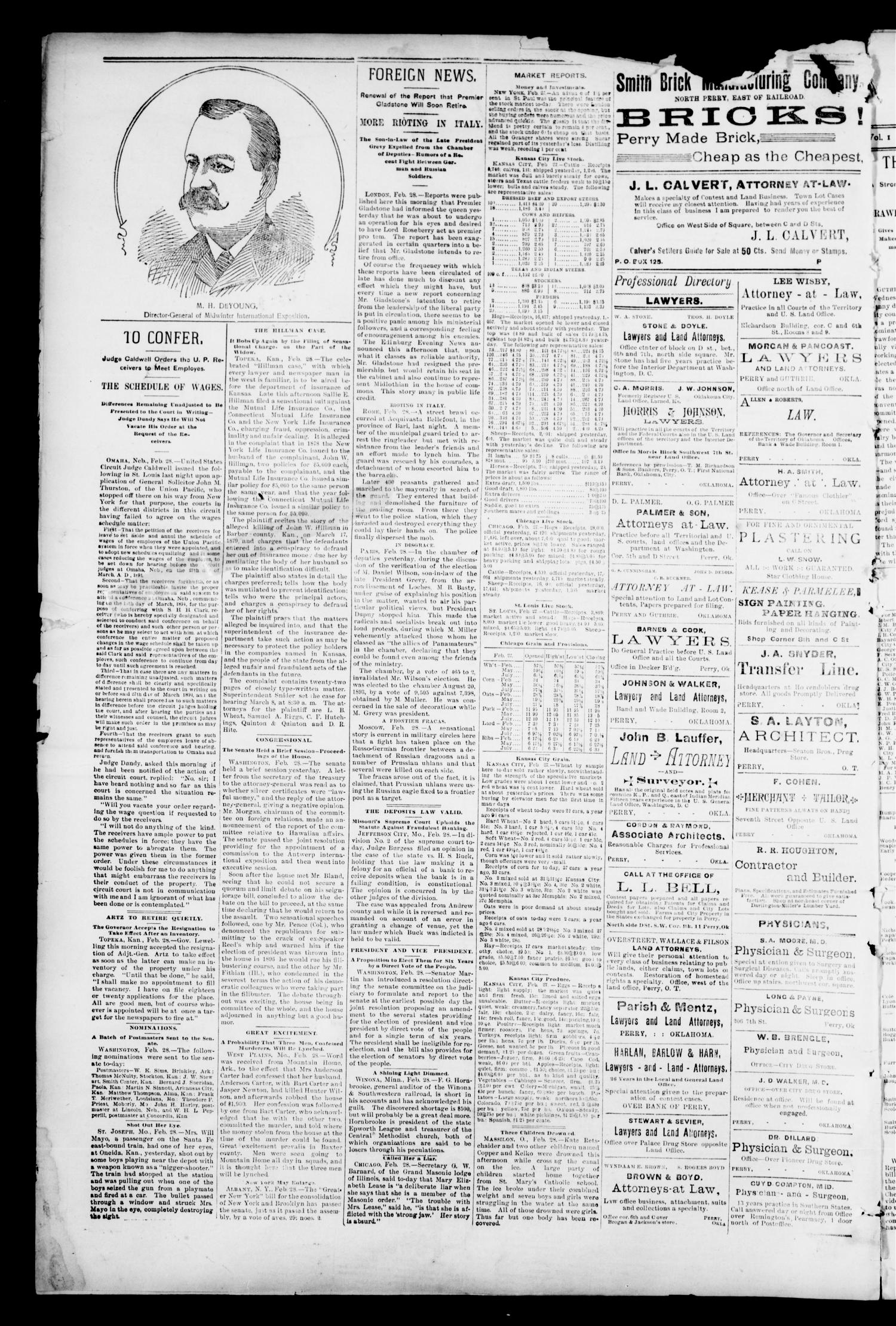 The Perry Daily Times. (Perry, Okla.), Vol. 1, No. 139, Ed. 1 Thursday, March 1, 1894                                                                                                      [Sequence #]: 4 of 4