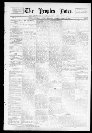 Primary view of object titled 'The Peoples Voice. (Norman, Okla.), Vol. 2, No. 31, Ed. 1 Saturday, March 3, 1894'.