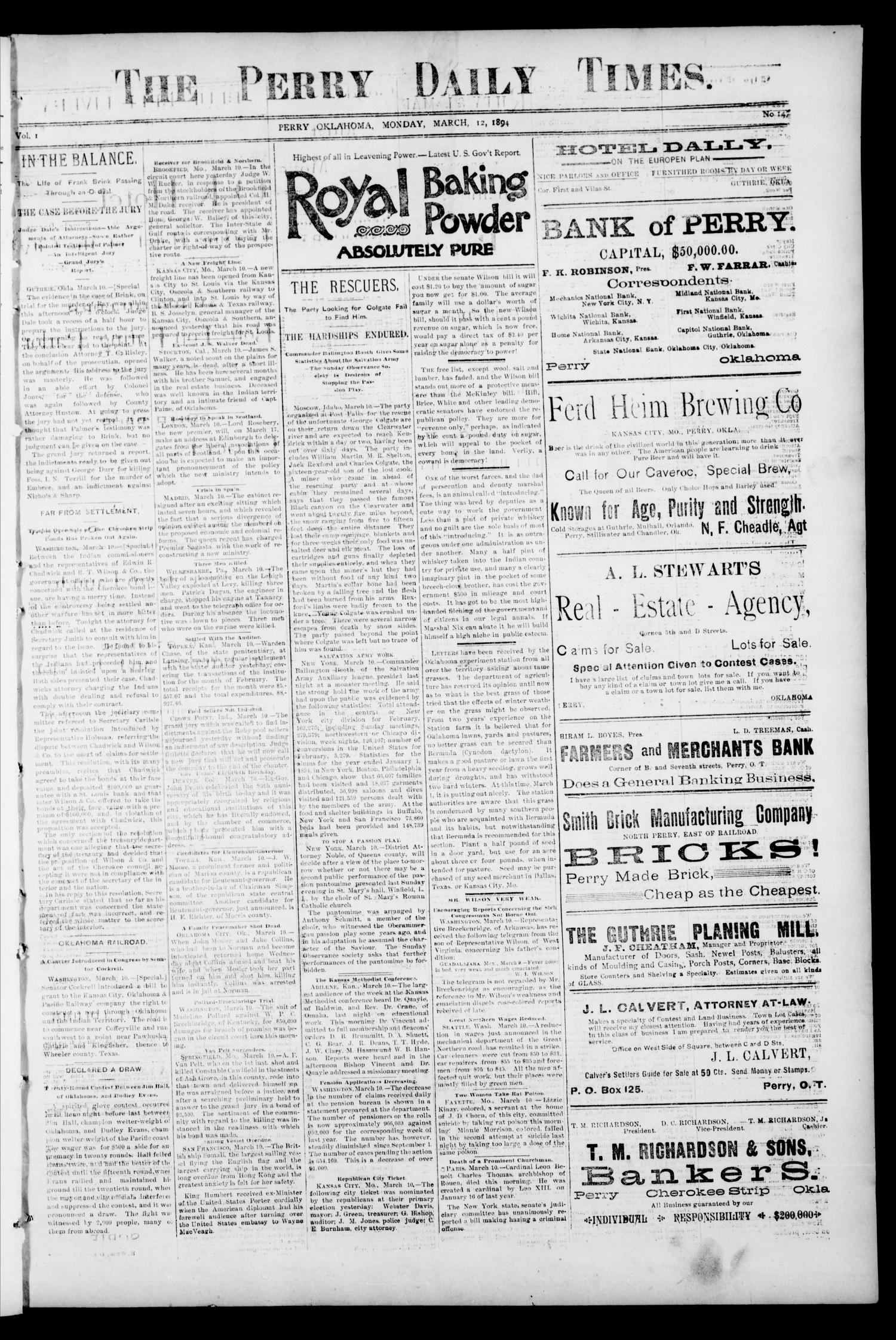 The Perry Daily Times. (Perry, Okla.), Vol. 1, No. 147, Ed. 1 Monday, March 12, 1894                                                                                                      [Sequence #]: 1 of 4