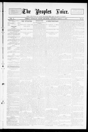 Primary view of object titled 'The Peoples Voice. (Norman, Okla.), Vol. 2, No. 33, Ed. 1 Saturday, March 17, 1894'.