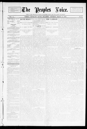 Primary view of object titled 'The Peoples Voice. (Norman, Okla.), Vol. 2, No. 35, Ed. 1 Saturday, March 31, 1894'.