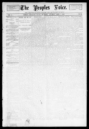 Primary view of object titled 'The Peoples Voice. (Norman, Okla.), Vol. 2, No. 36, Ed. 1 Saturday, April 7, 1894'.