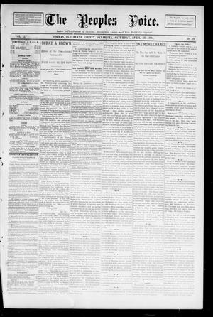 Primary view of object titled 'The Peoples Voice. (Norman, Okla.), Vol. 2, No. 39, Ed. 1 Saturday, April 28, 1894'.