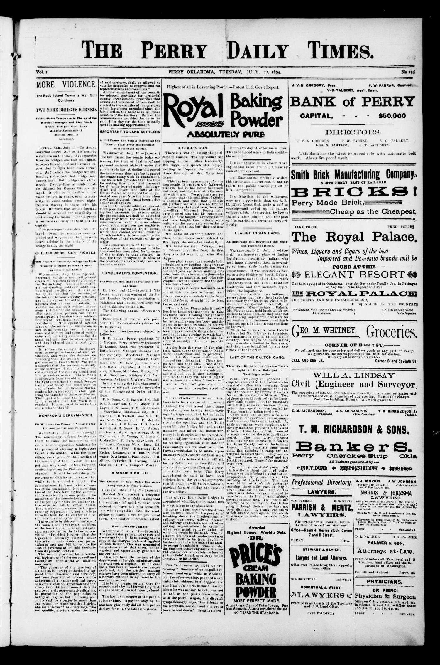 The Perry Daily Times. (Perry, Okla.), Vol. 1, No. 255, Ed. 1 Tuesday, July 17, 1894                                                                                                      [Sequence #]: 1 of 4