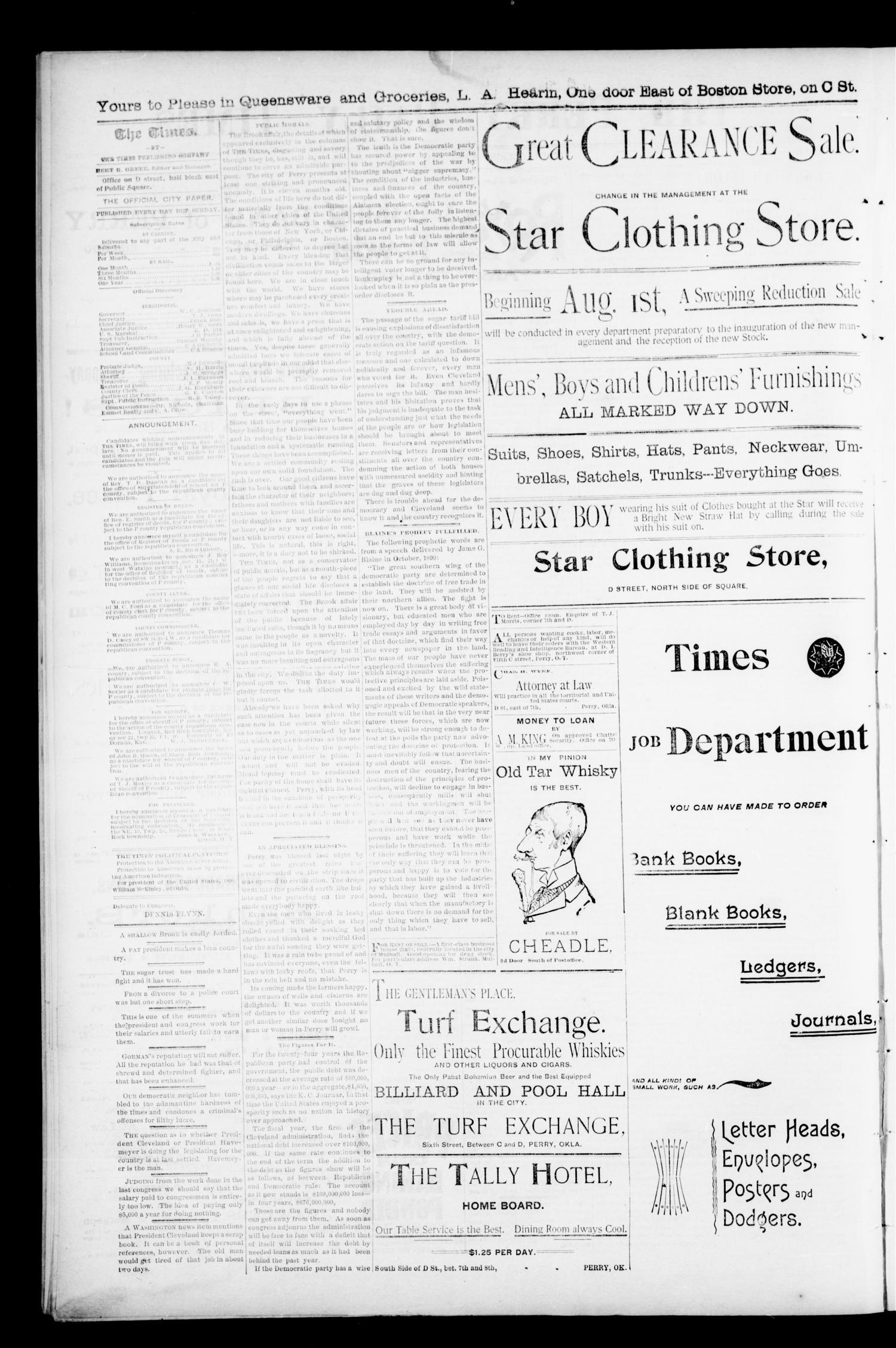 The Perry Daily Times. (Perry, Okla.), Vol. 1, No. 282, Ed. 1 Friday, August 17, 1894                                                                                                      [Sequence #]: 2 of 4