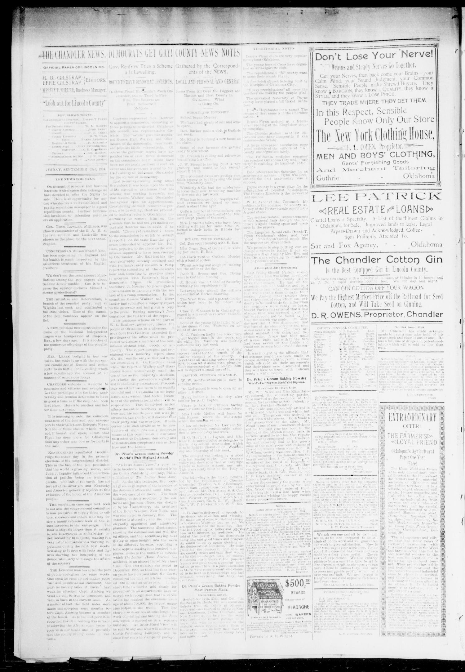 The Chandler News. (Chandler, Okla.), Vol. 3, No. 42, Ed. 1 Friday, September 21, 1894                                                                                                      [Sequence #]: 4 of 8