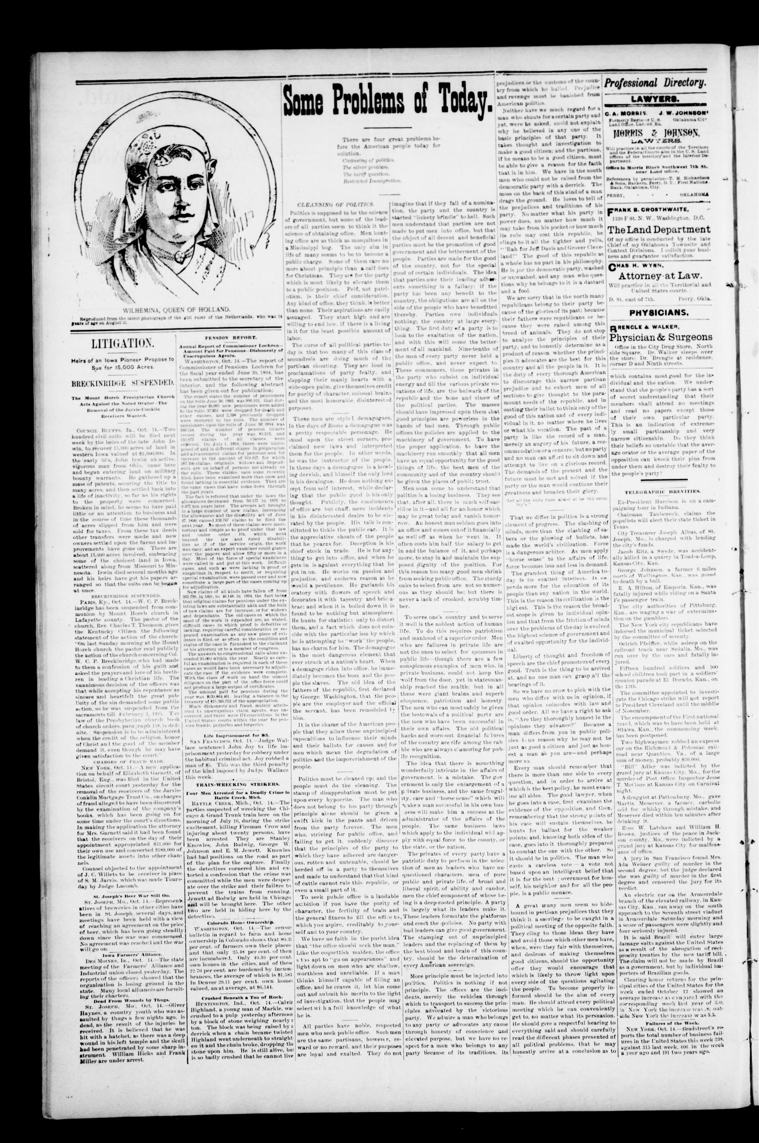 The Perry Daily Times. (Perry, Okla.), Vol. 2, No. 26, Ed. 1 Tuesday, October 16, 1894                                                                                                      [Sequence #]: 4 of 4