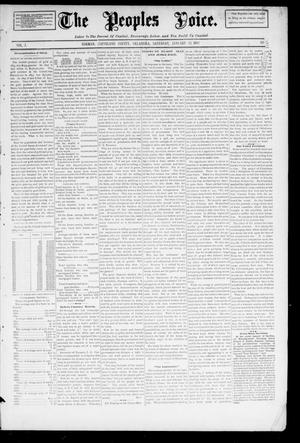 Primary view of object titled 'The Peoples Voice. (Norman, Okla.), Vol. 3, No. 24, Ed. 1 Saturday, January 12, 1895'.