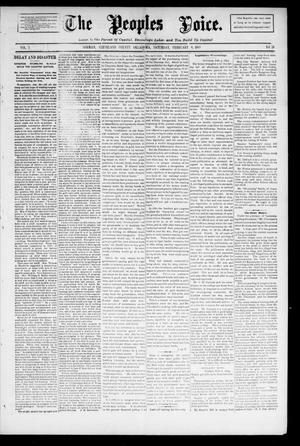 Primary view of object titled 'The Peoples Voice. (Norman, Okla.), Vol. 3, No. 28, Ed. 1 Saturday, February 9, 1895'.