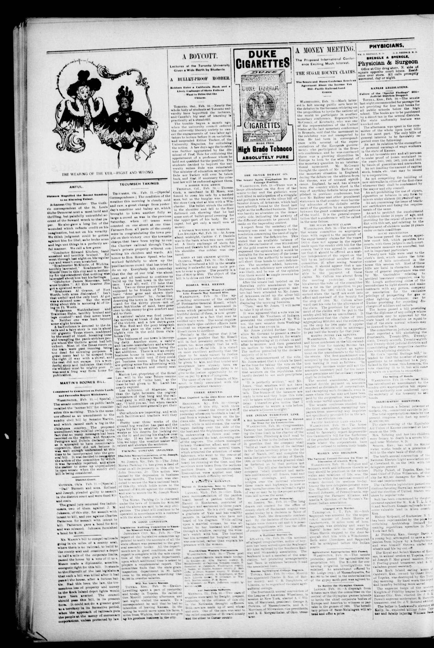 The Perry Daily Times. (Perry, Okla.), Vol. 2, No. 129, Ed. 1 Thursday, February 21, 1895                                                                                                      [Sequence #]: 4 of 4