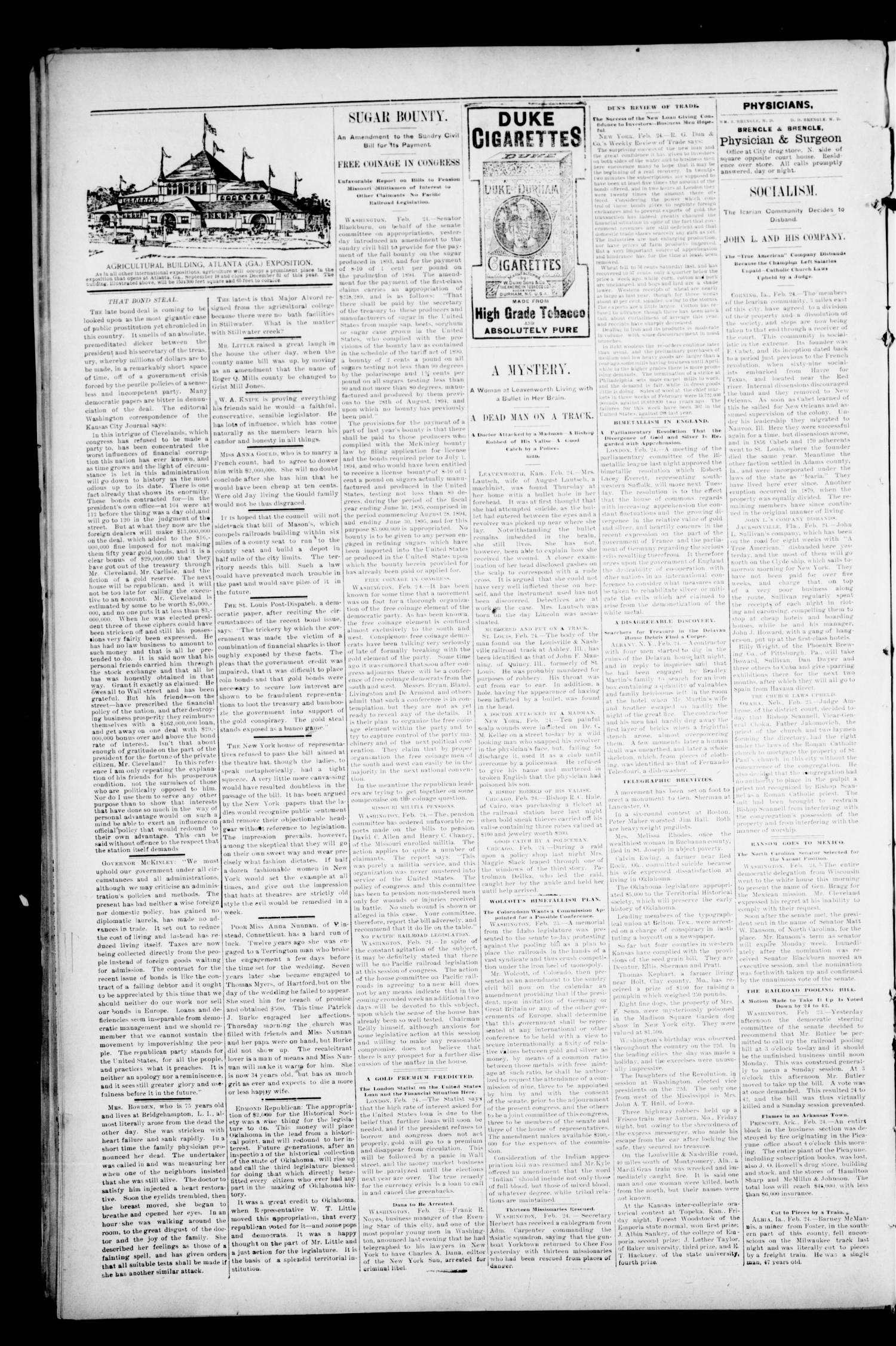 The Perry Daily Times. (Perry, Okla.), Vol. 2, No. 133, Ed. 1 Tuesday, February 26, 1895                                                                                                      [Sequence #]: 4 of 4