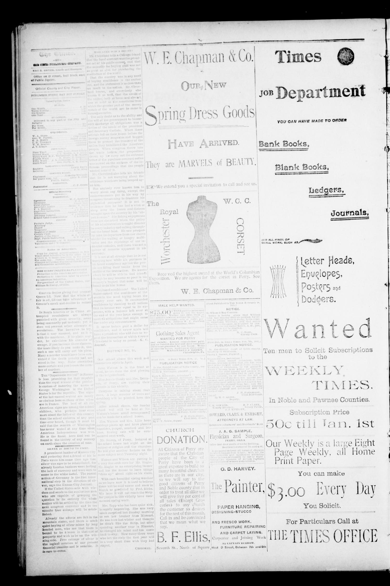 The Perry Daily Times. (Perry, Okla.), Vol. 2, No. 134, Ed. 1 Wednesday, February 27, 1895                                                                                                      [Sequence #]: 2 of 4