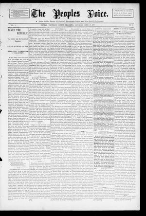 Primary view of object titled 'The Peoples Voice. (Norman, Okla.), Vol. 3, No. 39, Ed. 1 Saturday, April 27, 1895'.