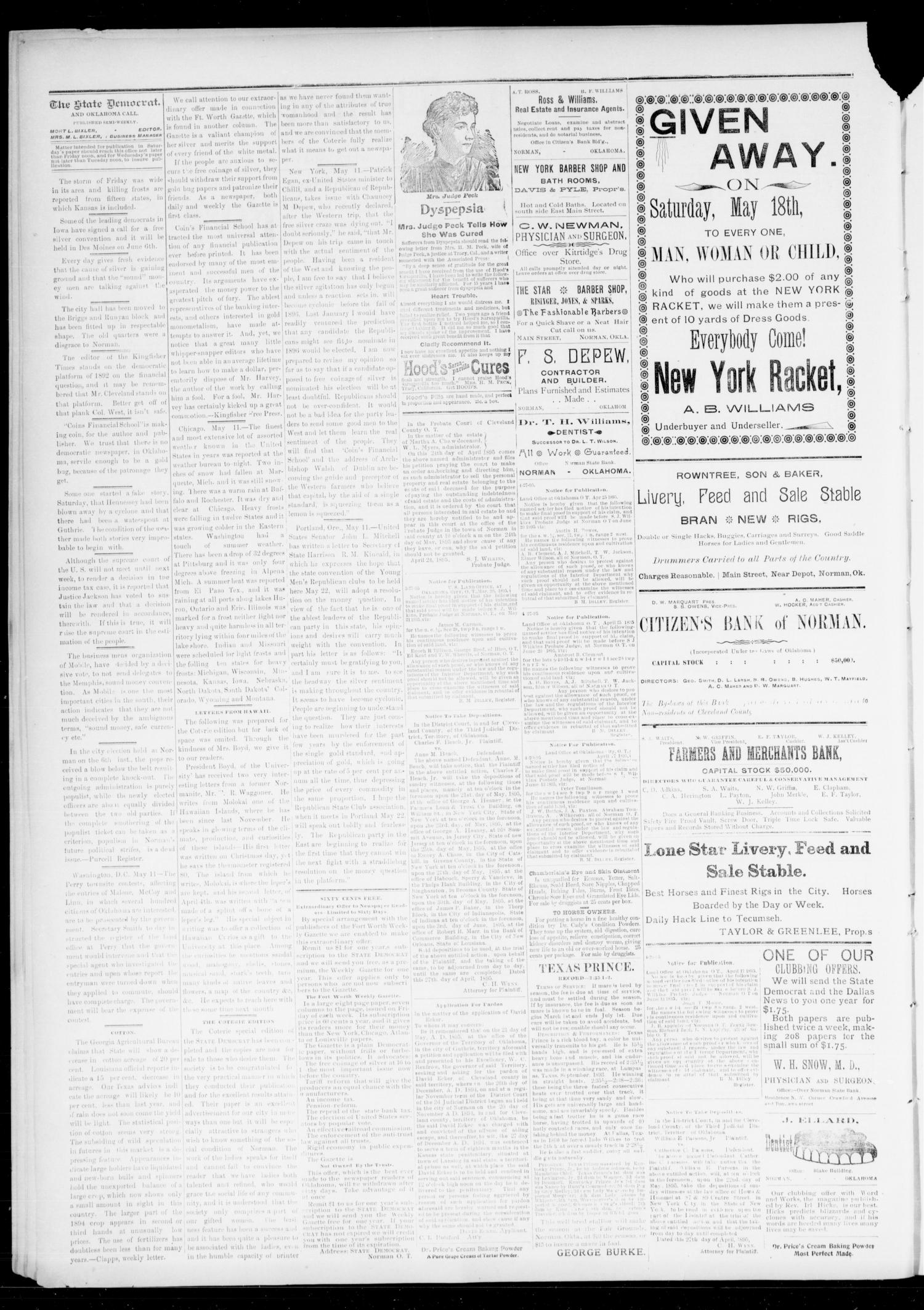 The State Democrat. (Norman, Okla.), Vol. 6, No. 105, Ed. 1 Wednesday, May 15, 1895                                                                                                      [Sequence #]: 2 of 4