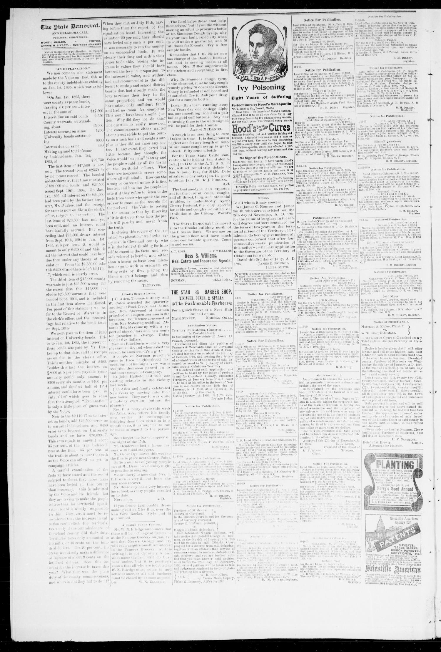 The State Democrat. (Norman, Okla.), Vol. 7, No. 52, Ed. 1 Saturday, January 11, 1896                                                                                                      [Sequence #]: 2 of 4