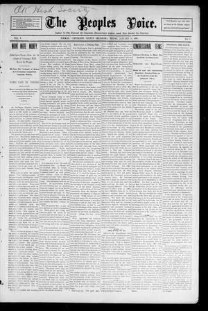 Primary view of object titled 'The Peoples Voice. (Norman, Okla.), Vol. 4, No. 26, Ed. 1 Friday, January 24, 1896'.