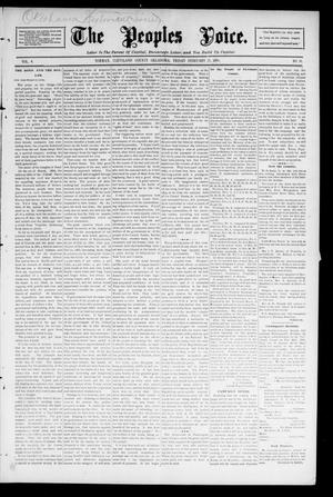 Primary view of object titled 'The Peoples Voice. (Norman, Okla.), Vol. 4, No. 30, Ed. 1 Friday, February 21, 1896'.