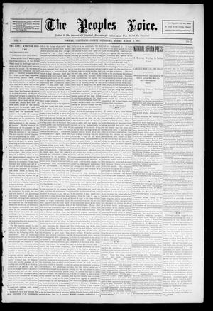 Primary view of object titled 'The Peoples Voice. (Norman, Okla.), Vol. 4, No. 32, Ed. 1 Friday, March 6, 1896'.